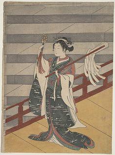 Girl on Balcony above Stone Stairway  Suzuki Harunobu  (Japanese, 1725–1770)  Period: Edo period (1615–1868) Date: ca. 1768 Culture: Japan Medium: Polychrome woodblock print; ink and color on paper