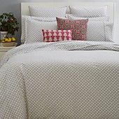 $300 for queen duvet cover, $80/each for std shams  JR by John Robshaw Cosmos Gray Collection