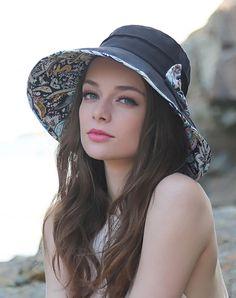 #AdoreWe #VIPme Hats & Caps - Designer Thantrue Black Floral Printed Bowknot Floppy Sun Hat With Neck Cord - AdoreWe.com