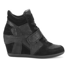 Ash Women's Bowie Suede Hidden Wedged Trainers - Black ($285) ❤ liked on Polyvore featuring shoes, sneakers, black, suede sneakers, high heel wedge sneakers, black sneakers, black wedge sneakers and hi top wedge sneakers