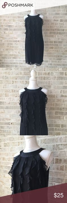 Taylor Cascading Ruffles Drop Waist Dress 6 • Brand: Taylor  • Size: 6  • Material: Silk  • Previously owned, excellent used condition  • Length 37 Bust 36 Waist 30  • Other info: lined Taylor Dresses Dresses