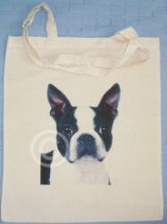 BOSTON TERRIER - NATURAL COTTON SHOULDER BAG - Shopping