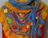 Châle, étole en laine filée main et mohair artisanal