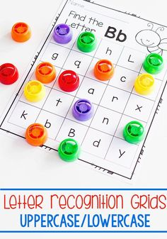 Uppercase and lowercase letter recognition activities for preschool and kindergarten. Find the letter, alphabet I Spy activities for your preschool, kindergarten and pre-k literacy centers. Try this fun game of letter recognition for preschoolers! Alphabet Phonics, Teaching The Alphabet, Alphabet Crafts, Learning Letters, Alphabet Letters, Teaching Abcs, Letter Identification Activities, Alphabet Activities, Nursery Activities