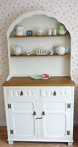 SHABBY CHIC Dutch Dresser Welsh Painted In Farrow Ball House White