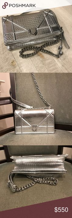 Christian Dior AUTHENTIC Diorama Calfskin Clutch EXCELLENT CONDITION. BARELY USED. Silver clutch with silver chain. Christian Dior Bags
