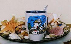 Windmill, Cobalt & White Ceramic Mug With Porcelain Spoon (stoneware, tea cups, coffee mugs, pottery) Tea Mugs, Coffee Mugs, Tile Art, Windmill, Ceramic Art, White Ceramics, Christmas Time, Stoneware, Spoon