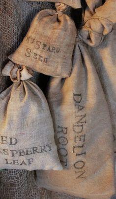 Dandelion root burlap bag.