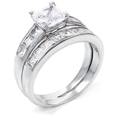 1.25 ct cz Princess Bridal Wedding Ring 2 Piece Set .925 Silver