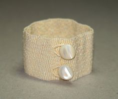 Ivory Band ... Beadwoven Bracelet . Peyote Cuff . by time2cre8, $66.00
