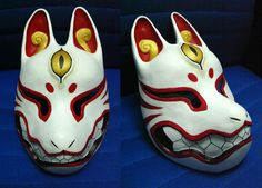 My mask for Comic Fiesta. Painted by me, base by Kitsune mask Kitsune Maske, Character Concept, Character Design, Samurai, Japanese Mask, Fox Mask, Scary Art, Cosplay Tutorial, Masks Art