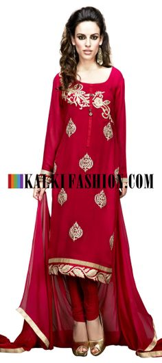 Buy Online from the link below. We ship worldwide (Free Shipping over US$100) http://www.kalkifashion.com/red-unstitched-suit-with-embroidered-butti.html Red unstitched suit with embroidered butti