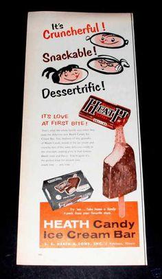 Heath Candy, Ice Cream Bar, Exc (1961)