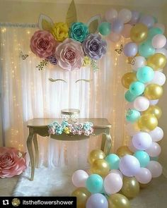 iShyan Unicorn Paper Flower Backdrop Decoration for Girls Birthday Party Wall Decorations
