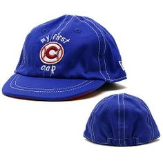 """Chicago Cubs Infant Royal My First Cap by Wrigleyville Sports. $13.95. Six panels with eyelets. Quality embroidery. Unstructured fit. Elastic stretch band for snug fit. Cross over v-neck. Dress your infant up in style with this Chicago Cubs Royal Infant My First Cap from New Era.  The cap is all royal and features a Cubs logo embroidered on the front surrounded by the words """"My First Cap"""".  Very Cute."""