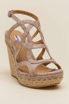 36b8a6d15371 Not Rated Anatolia Strappy Raffia Wedge Shoes Heels Boots