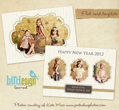 Instant Download  Holiday Card Photoshop Template  Gold Garden