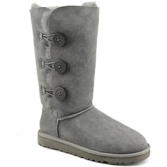 Ugg Australia Bailey Button Triplet Women Winter Boots ($220) ❤ liked on Polyvore featuring shoes, boots, grey, suede leather boots, gray suede shoes, grey suede shoes, round toe boots and grey suede boots