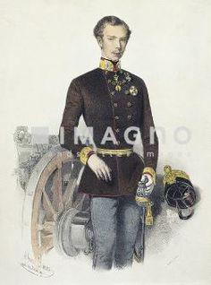 Kaiser Franz Joseph als Oberstinhaber des Feldartillerie-Regimentes Nr. 1. Lithographie von Eduard Kaiser, um 1855.