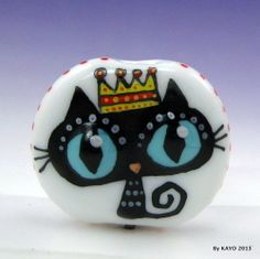 """HER MAJESTY THE CAT"" byKAYO a Handmade Lampwork Art Glass Focal Bead SRA"