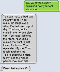 the words every girl wants to hear.or read in this case. Message Mignon, You Make Me Laugh, Cute Texts, Visual Statements, Hopeless Romantic, Cute Quotes, Text Messages, Famous Quotes, Relationship Quotes