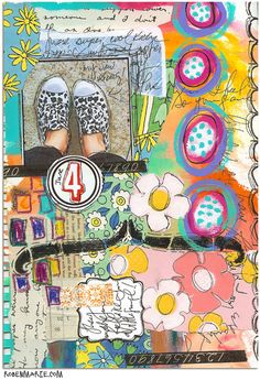 New Art Journaling Video... watch the process, Kicks art journal page by Roben-Marie Smith