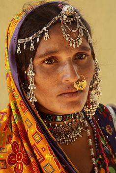 "India | ""Mir woman (Gujarat)"".  Mir is a tribe/caste which has descended from the Butt tribe in Kashmir Valley of Baramulla. 