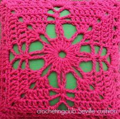 crochetingclub: seville square cushion http://knittingandcrocheting-club.blogspot.ru/2014/04/seville-square-cushion.html