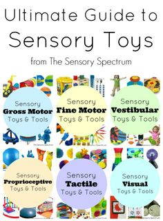Here is an Ultimate Guide to Sensory Toys and Products for Kids! Great ideas for incorporating sensory motor skills activities, sensory integration, plus use them at home and school! Sensory Therapy, Sensory Tools, Autism Sensory, Sensory Diet, Sensory Issues, Sensory Toys For Kids, Sensory Boards, Sensory Integration Therapy, Montessori Sensorial