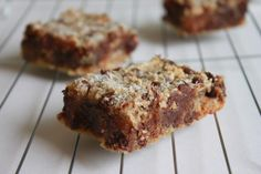 Almond Butter Blondies (Paleo) - replace honey with maple syrup.