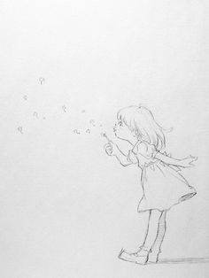 Little girl blows dandelion croqui Drawing Fist, Painting & Drawing, Anime Kunst, Anime Art, Cute Drawings, Drawing Sketches, Dandelion Drawing, Character Art, Character Design