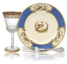 Chelsea Bird by Myott/Staffordshire, Thistle by St Louis, and Audubon Sterling by Tiffany & Co.