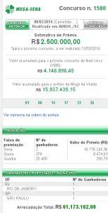 Mega-Sena 1580 - resultado do concurso de hoje, 08/03/2013