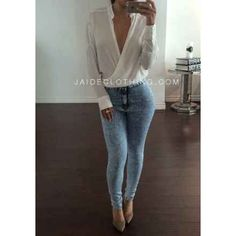 Casual Chiffon White Drape Blouse Top - Jaide Clothing
