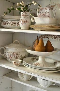 Brown Transferware for Thanksgiving Decorating with Autumn Harvest Pears ~ Mary Walds Place - Thanksgiving Faded Charm: ~Reflecting on the Season~