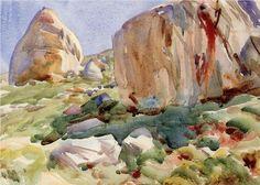 The Simplon. Large Rocks - John Singer Sargent
