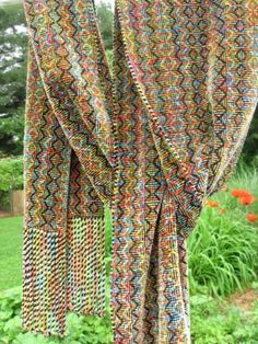 Shadow Weave #4 Variegated Colors Chenille Scarf -great weaving blog!