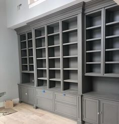 Custom Built-in Shelves & Cabinets. Cabinetry paint color is Benjamin Moore Graystone. Home Library Diy, Home Library Design, Home Libraries, Home Office Design, Home Office Decor, House Design, Library Cabinet, Library Shelves, Built In Bookcase