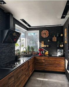 9 best black kitchens kitchen trends you need to see 3 « Kitchen Design Modern Kitchen Design, Interior Design Kitchen, Black Interior Design, Apartment Interior Design, Interior Walls, Bathroom Interior, Brown Kitchens, Küchen Design, Design Ideas