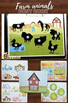 Farm Animals For Kids, Animal Activities For Kids, Farm Kids, Animal Crafts For Kids, Autism Activities, Toddler Learning Activities, Preschool Learning Activities, Infant Activities, Book Activities