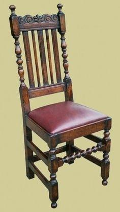 Oak carved slat back chairs