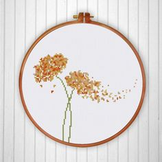 Counted modern cross stitch pattern minimalist shape and color silhouette bird flower handmade gift friend family house decor diy project