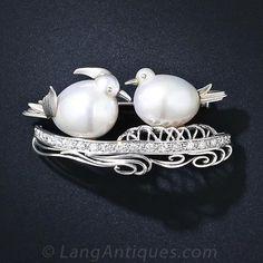 South Sea Pearl Love Bird Pin - 50-3-2843 - Lang Antiques
