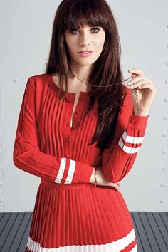 Zooey Deschanel and Tommy Hilfiger Team Up, Adorable Outfits Ensue Zooey Deschanel Hair, Zooey Dechanel, Emily Deschanel, Haircuts For Long Hair, Hairstyles With Bangs, Bangs Hairstyle, Jessica Day, Tommy Hilfiger Damen, Fashion Articles