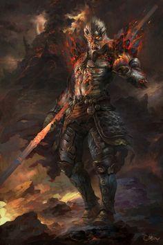 bad ass dark fantasy art from –> Wei Feng Dark Fantasy Art, Dark Art, Character Concept, Character Art, Concept Art, Game Concept, Fantasy Races, Fantasy Warrior, Fantasy Demon