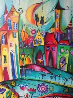 A 154 pieces jigsaw puzzle from Jigidi Watercolor Art, Colorful Art, Art Painting, Architecture Drawing Art, Art Drawings, Drawings, Whimsical Art Paintings, Naive Art, Art