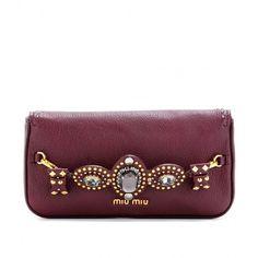 Miu Miu Embellished Leather Clutch via Polyvore