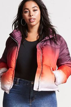 Product Name:Plus Size Ombre Puffer Jacket, Category:plus_size-main