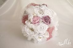 White and mallow wedding bouquet with lace, tulle, satin, silver pearls brooch, button by MkeFlower on Etsy