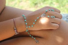 My Confession Glass Beads Rosary Slave Bracelet by tranquilityy, $12.00